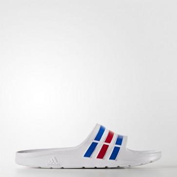 Zapatillas Adidas unisex chancla duramo blanco/power azul/rojo U43664-165