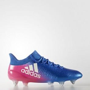 Zapatillas Adidas para hombre x 16.1 césped natural azul/footwear blanco/shock rosa BB5739-626