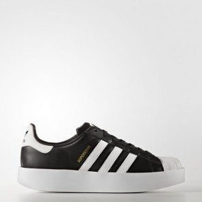 Zapatillas Adidas para mujer super star bold core negro/footwear blanco/gold metallic BA7667-014