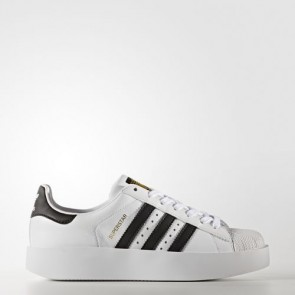 Zapatillas Adidas para mujer super star bold footwear blanco/core negro/gold metallic BA7666-042